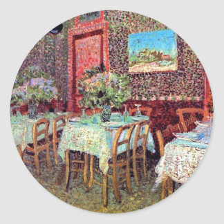Vincent Van Gogh - Interior Of A Restaurant Round Sticker