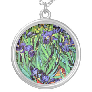 Vincent Van Gogh - Irises - Flower Lover Fine Art Silver Plated Necklace