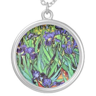 Vincent Van Gogh - Irises - Flower Lover Fine Art Silver Plated Necklace