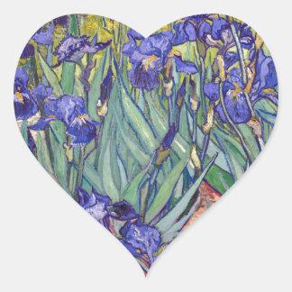 Vincent van Gogh Irises Painting Artwork Art Print Heart Stickers