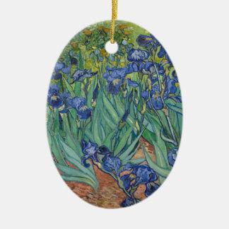Vincent Van Gogh Irises Painting Flowers Art Work Ceramic Oval Decoration