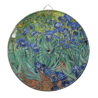 Vincent Van Gogh Irises Painting Flowers Art Work Dartboard With Darts