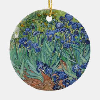 Vincent Van Gogh Irises Painting Flowers Art Work Round Ceramic Decoration