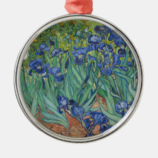 Vincent Van Gogh Irises Painting Flowers Art Work Silver-Colored Round Decoration