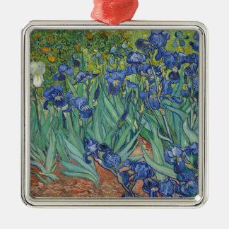 Vincent Van Gogh Irises Painting Flowers Art Work Silver-Colored Square Decoration