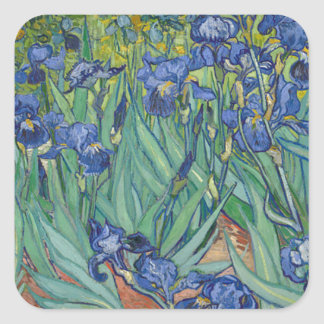 Vincent Van Gogh Irises Painting Flowers Art Work Square Sticker