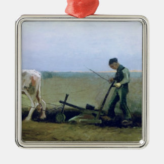 Vincent van Gogh | Labourer and Peasant Planting  Silver-Colored Square Decoration
