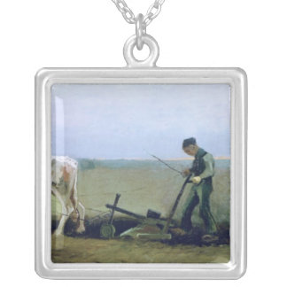 Vincent van Gogh | Labourer and Peasant Planting  Silver Plated Necklace