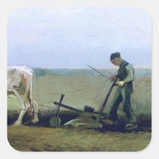 Vincent van Gogh | Labourer and Peasant Planting  Square Sticker