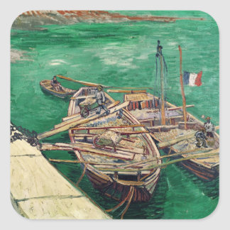 Vincent van Gogh | Landing Stage with Boats, 1888 Square Sticker