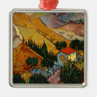 Vincent van Gogh | Landscape w/ House & Ploughman Silver-Colored Square Decoration