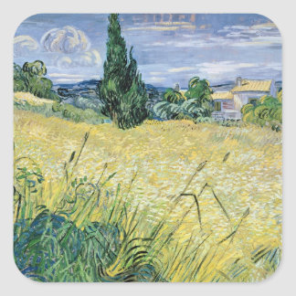Vincent van Gogh | Landscape with Green Corn, 1889 Square Sticker