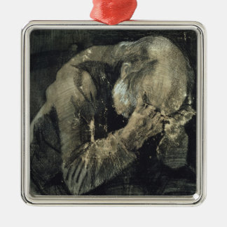 Vincent van Gogh   Man with his head in his hands Silver-Colored Square Decoration