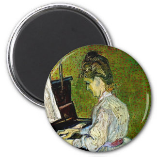 Vincent Van Gogh - Marguerite Gachet At The Piano 6 Cm Round Magnet