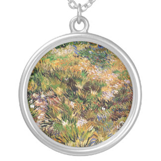Vincent Van Gogh - Meadow In The Garden Fine Art Silver Plated Necklace