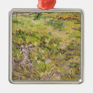 Vincent van Gogh | Meadow with Butterflies, 1890 Silver-Colored Square Decoration