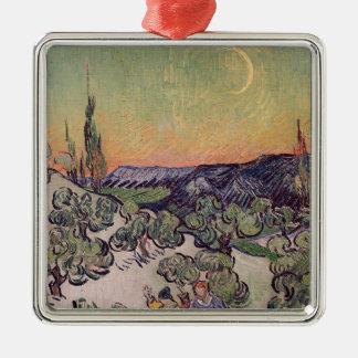 Vincent van Gogh | Moonlit Landscape, 1889 Silver-Colored Square Decoration