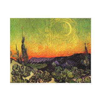 Vincent Van Gogh Moonlit Landscape Stretched Canvas Prints