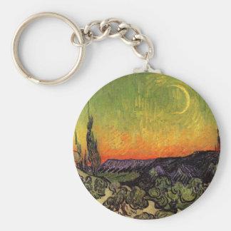 Vincent Van Gogh Moonlit Landscape Keychain