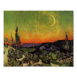 Vincent Van Gogh Moonlit Landscape Poster