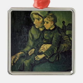 Vincent van Gogh | Mother and Child, 1885 Silver-Colored Square Decoration