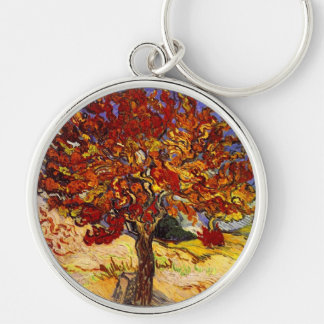 Vincent Van Gogh Mulberry Tree Fine Art Painting Silver-Colored Round Key Ring