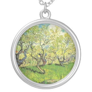 Vincent van Gogh,Orchard in Blossom Silver Plated Necklace
