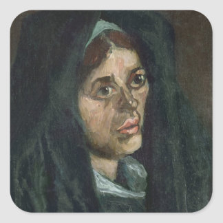 Vincent van Gogh | Peasant with moss green shawl Square Sticker