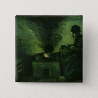 Vincent van Gogh | Peasant Woman by the Hearth 15 Cm Square Badge