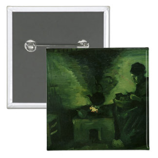Vincent van Gogh   Peasant Woman by the Hearth 15 Cm Square Badge