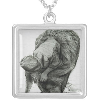 Vincent van Gogh   Peasant Woman Gleaning, 1885 Silver Plated Necklace