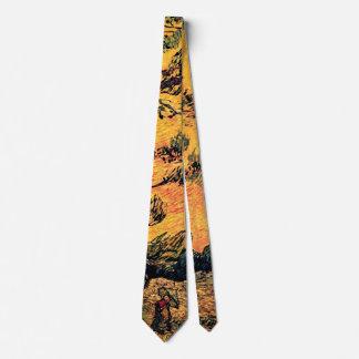 Vincent Van Gogh - Pine Trees Against A Red Sky Tie