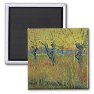 Vincent van Gogh | Pollarded Willows, Setting Sun Square Magnet