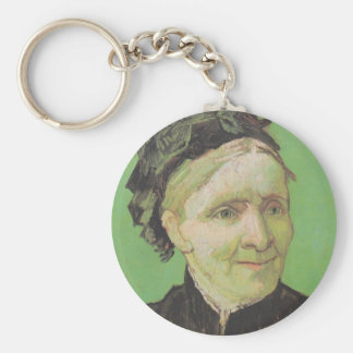 Vincent Van Gogh Portrait of Artist's Mother Art Basic Round Button Key Ring
