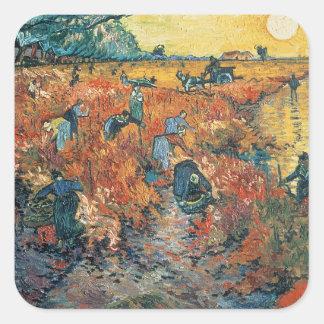 Vincent van Gogh | Red Vineyards at Arles, 1888 Square Sticker