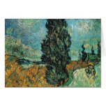 vincent van gogh - road with cypress and star greeting card