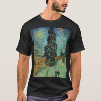 vincent van gogh - road with cypress and star T-Shirt