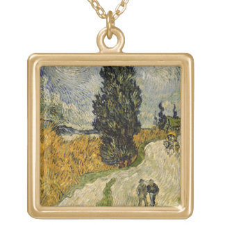 Vincent van Gogh | Road with Cypresses, 1890 Gold Plated Necklace
