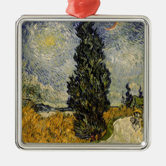 Vincent van Gogh | Road with Cypresses, 1890 Silver-Colored Square Decoration