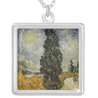 Vincent van Gogh   Road with Cypresses, 1890 Silver Plated Necklace