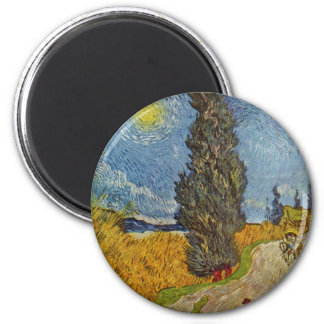 Vincent van Gogh - Road with Cypresses 6 Cm Round Magnet