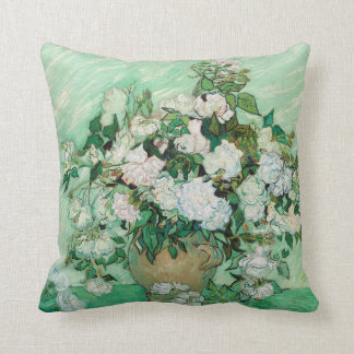 Vincent van Gogh Roses 1890 Painting Throw Pillow