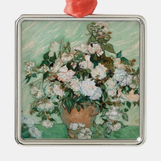 Vincent van Gogh | Roses, 1890 Silver-Colored Square Decoration