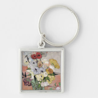 Vincent van Gogh | Roses and Anemones, 1890 Silver-Colored Square Key Ring