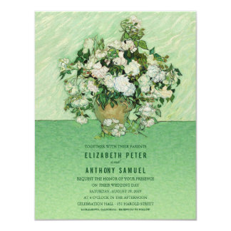 Vincent van Gogh Roses Painting 4.25x5.5 Wedding 11 Cm X 14 Cm Invitation Card