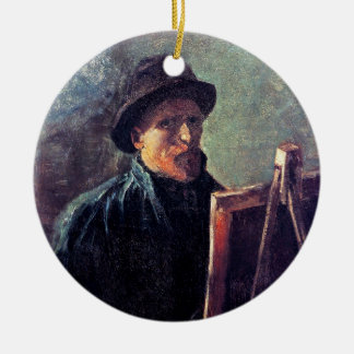 Vincent Van Gogh - Self Portrait Dark Felt Hat Round Ceramic Decoration