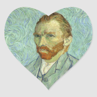 Vincent Van Gogh Self Portrait Fine Art Painting Heart Sticker