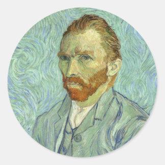 Vincent Van Gogh Self Portrait Fine Art Painting Round Sticker