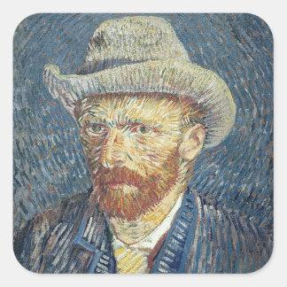 Vincent van Gogh | Self Portrait with Felt Hat Square Sticker