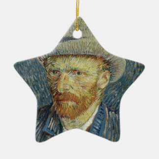 Vincent Van Gogh Self Portrait with Grey Felt Hat Christmas Ornament